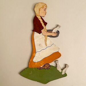 Märchen PAPPE Bild 23cm Krieg Aschenputtel Wand-Figur Kinderzimmer Deko Vintage