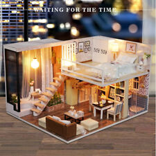 DIY Doll house Toy Wooden Miniature Furniture LED Light Gift Waiting Time Kids