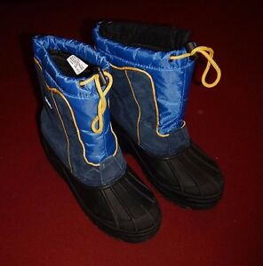 Totes All Weather Snow Boots Womens/Mens Size 5 M Black Blue Yellow Greg Style
