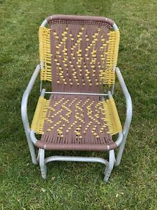 Vintage Mid-20th Century Aluminum Frame Rocking Lawn Chair Brown Yellow Macrame