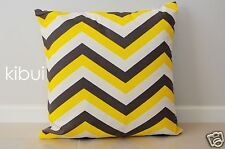 Chevron Home Decor Cushion Cover Throw Pillow Case Dark Grey/yellow Kibui