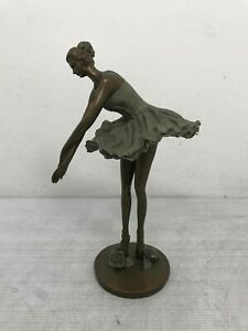 """Decorative Metal Ballerina with Roses at her Feet Statue 13"""""""
