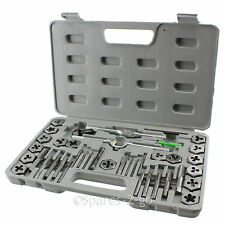 40 Piece Tap & Die Tool Kit Set Metric Size Carbon Steel Taper Taps Bar Wrench