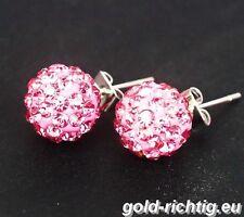 Shamballa Ohrstecker rosa (Ohrringe Ohrhänger Damen Schmuck Silber Zirkonia) NEU