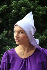 RE-ENACTMENT Medieval LINEN COTTON Ladies Coif Hat Bonnet Cotton Green White