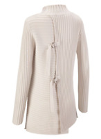 CAbi D-Ring Pullover Sweater Womens S Ivory White Ribbed Knit Mock Collar Tunic