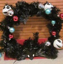 Disney Nightmare Before Christmas Black Wreath Jack Skellington With Ornaments