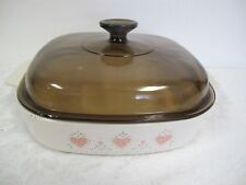 CORNING FOREVER YOURS CASSEROLE 2 1/2 QUART PEACH HEARTS PYREX AMBER LID