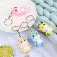 1Pcs Cartoon Cow Doll Ox Keychain For Keys Cute Dairy Car Bag Keyring Pendan U_X