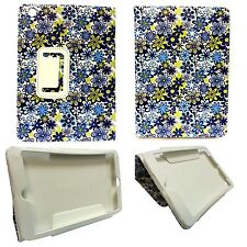 CASE FOR APPLE IPAD 2 IPAD 3 IPAD 4 BLUE WHITE YELLOW FLOWER PU LEATHER COVER