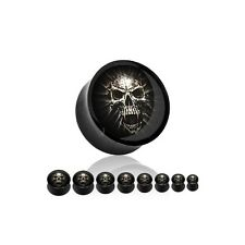 ~12mm~  HORROR Plug Flesh Tunnel TOTENKOPF Piercing Ohr