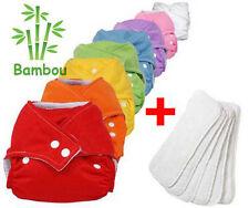 8 Couches Lavables Bambou + 8 Inserts Bambou TE1 Evoluable Couleurs Aux Choix