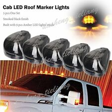 5pcs Amber LED Smoke Roof Cab Running Marker Lights For Truck SUV Off-Road 4x4