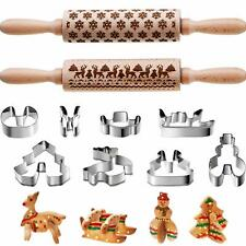 10Pcs Christmas Rolling Pin Engraved+3D Cookie Molds Cutters Baking Kitchen Tool