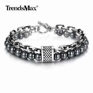 8mm Beaded Bracelet Men Hemitate Metal Gunmetal Stainless Steel Cable Chain