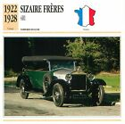 Sizaire Frères 4RI Luxe 4 Cyl. 1922-1928 France CAR VOITURE CARTE CARD FICHE