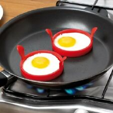 2 x Silicon Egg Rings High Heat Resistant Non Stick Surface Easy To Clean