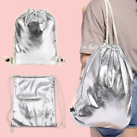 Mens Womens Metallic Drawstring Bag Shoulder String Backpack School Bag