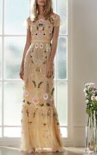 New Needle & Thread Dust Yellow Embroidered Tiered Maxi Dress Size 6