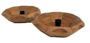"Wood Tapered Candle Holder Center of 8.5"" Wide Wooden Pedestal Set of 2"