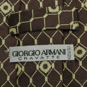 Brown Beige Foulard ARMANI Silk Tie