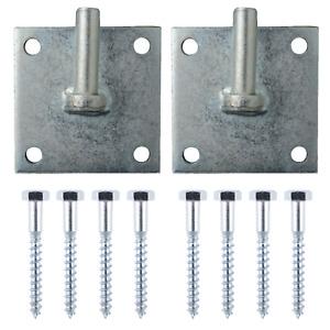 Gate Hinge Hook on Square Plate Zinc Galvanised 75mm / 100mm + Fixings