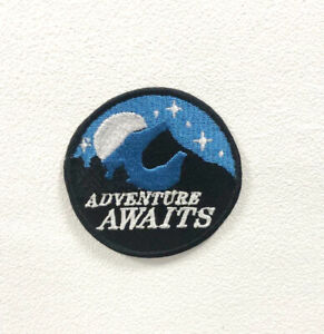 Adventure Awaits Badge Clothes Iron on Sew on Embroidered Patch appliqué