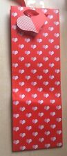 BNWT New Red Heart Pattern Gift Wine Bottle Bag with Heart Tag