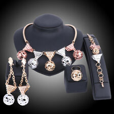 African Beads Jewelry Sets For Women Gold Plated Necklace Ring Bridal Party Sets