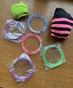 LED Light Up Flashing Glow Bracelets X5, Neon Fishnet Gloves & Neon Socks Bundle