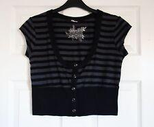 Jane Norman Womens Cropped Cardigan Black/Grey Stripe Size 8/10
