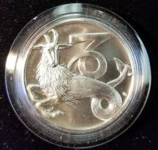 1983 TENTEX INC ZODIAC CAPRICORN HIGH RELIEF SILVER 1 OZ .999 IN ORIGINAL CAP