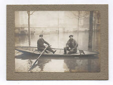 PHOTO ANCIENNE Transport Barque Rameur Inondation Inondations 1910 Rue