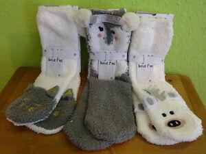 3 Paar Damen Kuschelsocken Hüttensocken Anti Rutsch ABS Socken 3D Tier Style neu