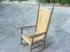 ANTIQUE ROCKING CHAIR, CIRCA 1890'S, WICKER WEAVE SEATING AREA , AMERICAN MADE