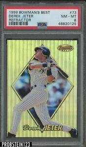 1999 Bowman's Best Refractor #73 Derek Jeter Yankees HOF PSA 8 NM-MT