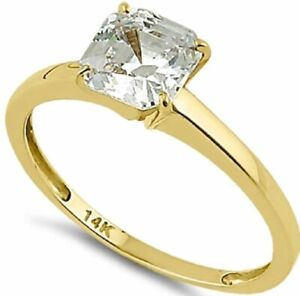 Engagement Ring Solid 14K Yellow Gold Asscher 6.5mm Clear CZ-1.60ctw-Size 6-NWT