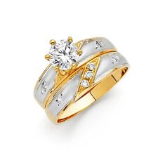 Ladies 14K Tri-color Gold men's Engagement Wedding Ring Round Band 3 Piece Set