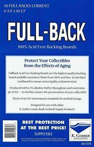 50 E. Gerber FULL-BACK Current 100% AcidFree 42 Mil Archival Comic Boards 675FB
