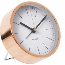 Karlsson Minimal Alarm Clock White Unique Bedside Bedroom Modern Timepiece