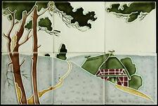 Jugendstil Fliesen Fliesenbild Kacheln Witteburg um 1900 SELTEN Art Nouveau tile