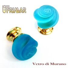 POMOLI VETRO MURANO D.mm.30 ACQUAMARE ACIDATO base OTTONE LUCIDO Made in Italy