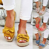 Women Bowknot Flat Sandals Open Toe Espadrilles Casual Slingback Shoes Size 10