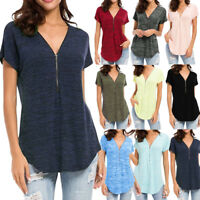 Women Loose Fitting Zip Up V Neck Short Sleeve Tops Tunic Casual T-Shirt Blouse
