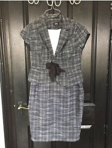Marks & Spencer Black And Grey Women's Work Suit Dress And Jacket Size 14