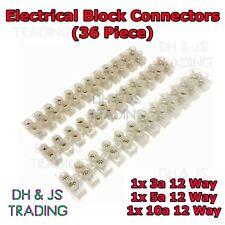 36x Electrical Block Strip Cable Wire Connectors Terminal Blocks - 3A 5A 10A Amp