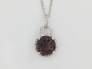 Natural Smoky Topaz with Natural Diamond Pendant 925 Sterling Silver