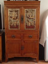 Antique Oriental Chinese Twin Cabinet Cupboard With Hand Painted Carvings