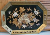 Vtg Large Tole Serving Tray Pilgrim Art HAND PAINTED Flowers  Metal 18 x 13 1/4""