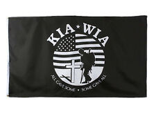 Black US Military Army USMC KIA WIA 3'x5' All Weather Indoor Outdoor Flag Banner